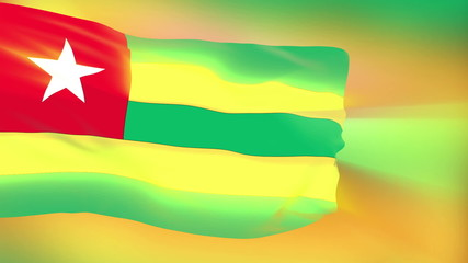 Togo flag slowly waving. Glow. Seamless loop.