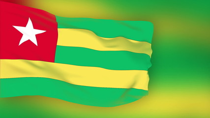Togo flag slowly waving. Blurred background. Seamless loop.