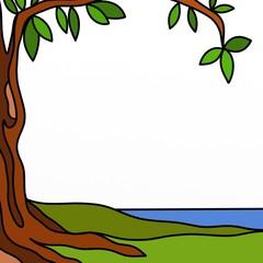 sfondo con albero e lago