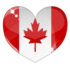 Vector heart with Canada flag texture