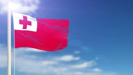 Tonga flag waving. Sky background. Seamless loop.
