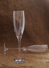 Empty wineglasses.