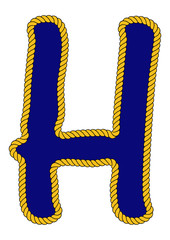 Navy Sailor-Style Rope Alphabet Letter H