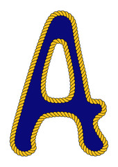 Navy Sailor-Style Rope Alphabet Letter A