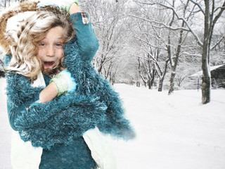 Child in Snow Storm Blizzard