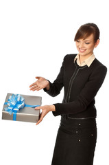 Silver box with blue bow as a present