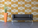 3d Sofa Rendering 70er Jahre Retro orange