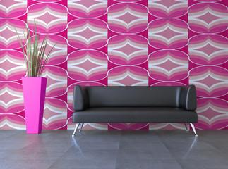 3d Sofa Rendering 70er Jahre Retro pink