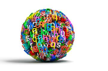 imagen conceptual con bola de letras de colores