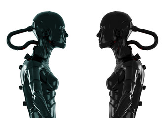3d wired metal robots in profile isolated on white
