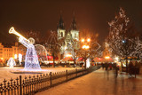 Fototapety Christmas Mood on snowy Old Town Square, Prague, Czech Republic