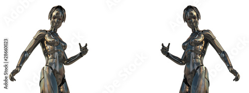 Two steel cyborg with red eyes isolated on white