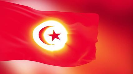 Tunisia flag slowly waving. Glow. Seamless loop.