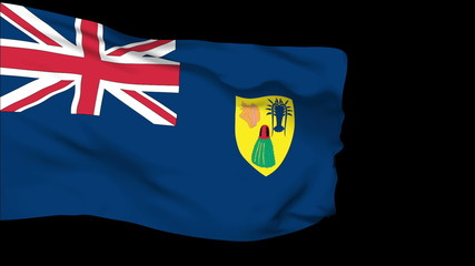 Turks and Caicos flag slowly waving. Alpha included.