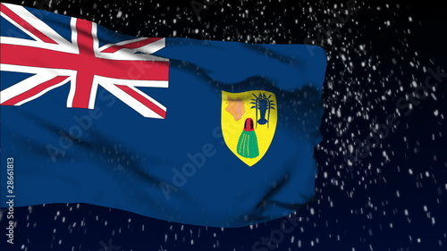 Turks and Caicos flag waving. White snow background.