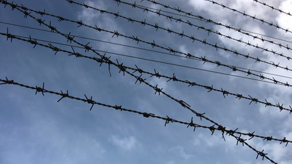 Barbed Wire and cloudscape