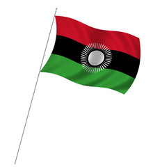 Flag of Malawi waving in the wind over white background
