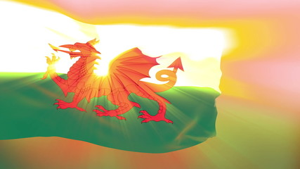 Wales flag slowly waving. Glow. Seamless loop.