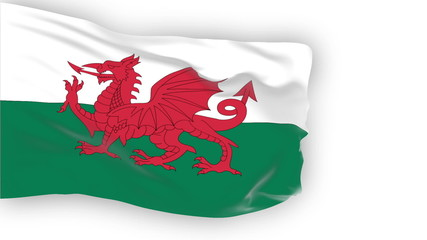 Wales flag slowly waving. White background. Seamless loop.