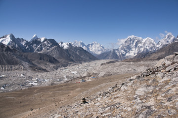 In the shadow of the khumbu glacier. Gorak Shep in Nepal