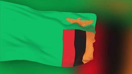 Zambia flag slowly waving. Blurred background. Seamless loop.