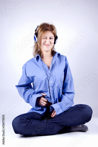 Young girl in headphones