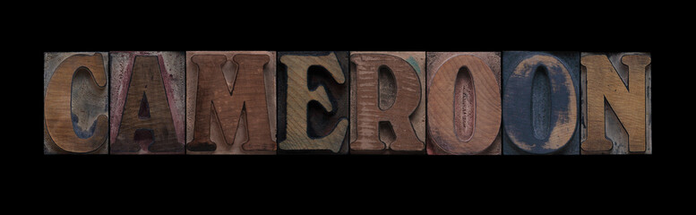 the word Cameroon in old letterpress wood type