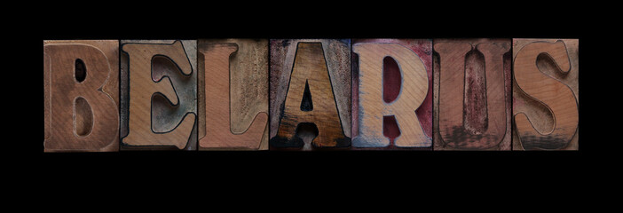 the word Belarus in old letterpress wood type