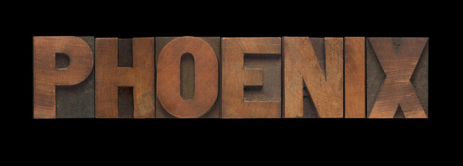 the word Phoenix in old letterpress wood type