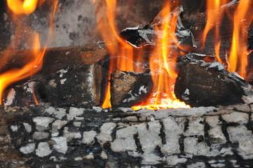 feu de cheminée et flammes - Energie renouvelable