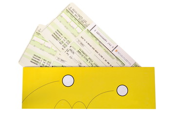 Airtickets to yellow envelope