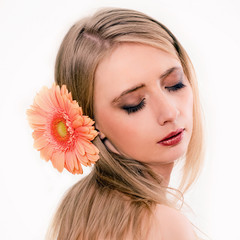 Skincare of young beautiful woman face against white background