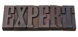 expert word in letterpress type poster