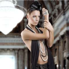 sensual girl with jewellery and hair style