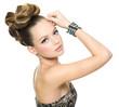 Beautiful teen girl with modern hairstyle