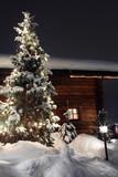 faházak a karácsonyfa és a hó