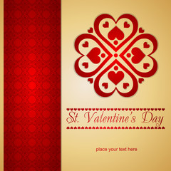 Golden Valentines card with nice pattern