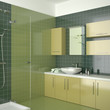 green contemporary bathroom with yellow furniture