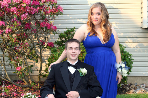 Smiling Prom Couple Outdoors Horizontal