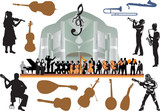 large isolated orchestra illustration poster