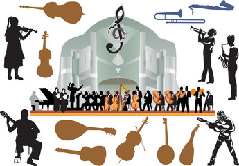 large isolated orchestra illustration