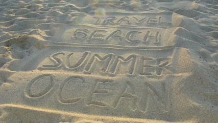 Words: travel, beach, summer, ocean on sand.