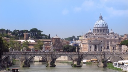 River Tiber with bridge in Vatican, Rome, Italy.