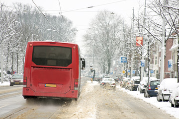 Bus driving in Amsterdam the Netherlands in winter