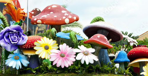 Leinwandbild Motiv Mushroom in the garden