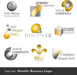 9 metallic business logos