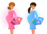 Pregnant women awaiting baby boy and baby girl. VECTOR poster
