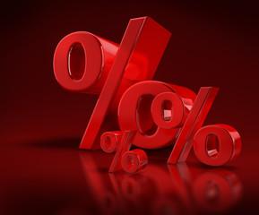 3 Prozentzeichen auf Rot