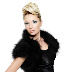 woman wearing dress with fur and curly  hairstyle