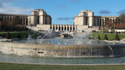 fountains in front of Palais de Chaillot in Paris